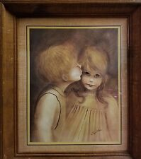 "Margaret Keane Big Eyes Eyed Waif Picture Print First Kiss 11"" x 17"" Framed"