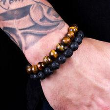 2 PCS Fashion Classic Lava Rock Tiger Eye Gem Stone Beaded Healing Bracelet Men