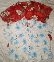 2 Caribbean Joe Women Short Sleeve Hawaiian Tropical Shirts Red White Floral 3X