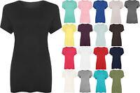 New Ladies Plus Size Short Sleeve Jersey T-shirt Womens Stretch Plain Top 14-28