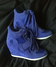 Ash Limited Bowie Purple Saphir Suede Canvas Wedge Hi Top Trainers Boots 36 £155