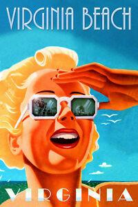 Virginia Beach VA Travel Poster Retro Sea Shore Beach Blonde Art Deco Print 289