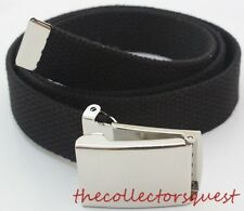 "KIDS ADJUSTABLE TODDLER FLIP TOP CHROME BUCKLE CANVAS WEB UNIFORM 34"" BLACK BELT"