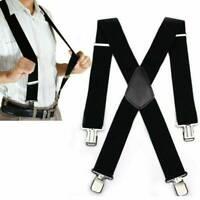Mens Heavy Duty Suspenders Adjustable Clip On Work Braces Wide Black Color