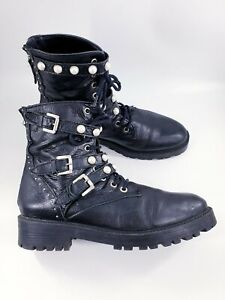 Zara size 5 (38) black leather zip / lace / buckle pearl bead combat ankle boots