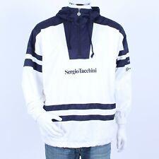 Vintage 90s Sergio Tacchini White Blue Quarter Zip Jacket Festival Windbreaker M
