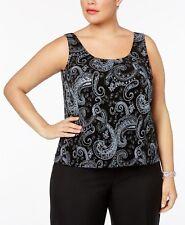 Alex Evenings Black Women's Size 3x Plus Glitter Top Jacket Set #451
