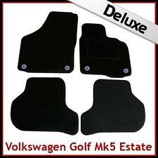 VW Golf Estate Mk5 2007-2009 Round Clips Tailored LUXURY 1300g Carpet Mats BLACK