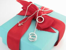 "Auth Tiffany & Co Silver 1837 Interlocking Circle Lariat 18.5"" Dangle Necklace"
