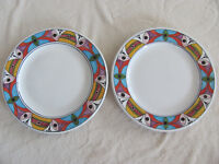 Deruta Pottery Italy Villagio-Multi-Color Geometric- Set of 2 Dinner Plates