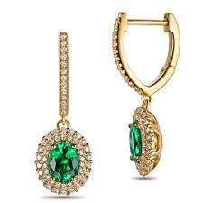 18ct Yellow Gold Stunning Natural Colombian Emerald & Diamond Earrings VS Beauty