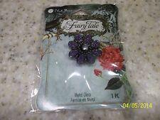 1 NIP Blue Moon Beads Fairy Tale Purple Metal Flower Clear Stone in Middle 1 PC