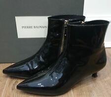 PIERRE BALMAIN Black Leather Patent Pointed Kitten Heel Ankle Boots 40 UK7