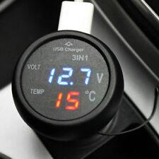 Universal 2 In 1 LED Car Cigarette Lighter Digital Voltmeter Thermometer 12/24V