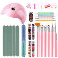 Acrylic Nail Kit Powder Glitter Nail Art Manicure Rhinestone Tool Tips Set W0E9