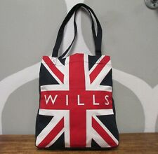 JACK WILLIS SPELL OUT SIGNATURE NAVY CANVAS UNION JACK FLAG UK ENGLAND TOTE BAG