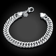 Men 925 sterling Solid silver bracelet B10M full side Bracelets #233