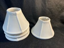 Four Linen Chandelier Lampshades Good Condition Small Clip For Bulb
