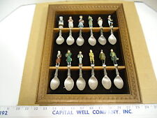 Vintage 1981 Franklin Mint Painted Pewter Dickens Characters 12 Piece Spoon Set