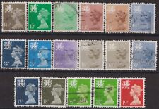 z1616) G.B.- Wales. 1980/93. Used. Small Collection of Machins. c£14+.