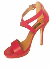 NWT Polo Ralph Lauren Ankle Strap Red High Heels womens Sandals Size 38.5