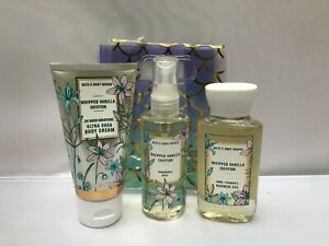 Bath & Body Works WHIPPED VANILLA CHIFON Cream Mist Gel 3pc Gift Set Travel Size