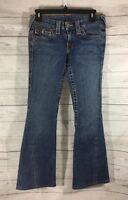 True Religion Joey Blue Flare Boot Cut Flap Pocket Jeans Womens Sz 27 Distressed