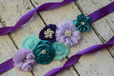 Flower Sash, aqua teal violet purple Sash, flower Belt, maternity sash