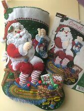 """Bucilla~  18 """" Felt  Christmas Stocking,~Handmade,Finished ~""""STITCHING SANTA"""""""