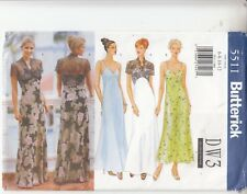 Dress Bridal Evening Special Occasion  Straps Butterick 5488 Sewing Pattern 6-12
