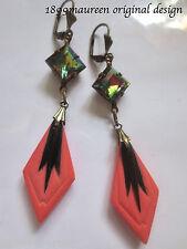 Art Deco earrings vintage Art Nouveau geometric antique coral glass drops long