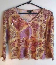 CHAUDRY SHIRT FLORAL PRINT BEADED JEWEL SEQUINS GLITTER BEAD TOP PETITE LARGE PL