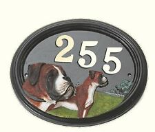 Boxer Dog - Hand Painted House Sign / Plaque with Number
