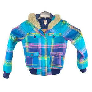 Roxy Womens Multicolor Plaid Winter Fur Hooded Hoodie Jacket Size Medium EUC