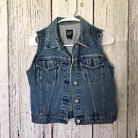 GAP Blue Denim Jean Vest Jacket Womens Size Small