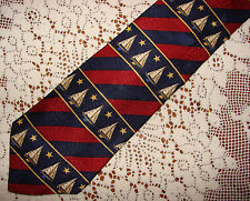 TOMMY HILFIGER Silk Jacquard Neck Tie Nautical Sailing Sailboat Print
