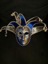 Masque vénitien Joker Bleu/doré