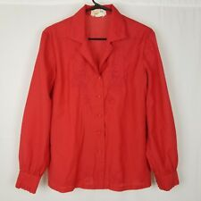 Women's Vintage Fedo Shirt Button Front sz Xxl Embroidered Accent Collar Red