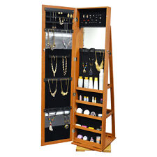 Full Length Mirror Jewelry Cabinet Armoire W/ Stand Rings Necklaces Bracelets