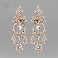 ROSE GOLD Plated Clear Crystal Rhinestone Chandelier Drop Dangle Earrings 07139
