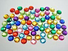 200 Mixed Color Flatback Acrylic Round Rhinestone Button 10mm Sew on Bead