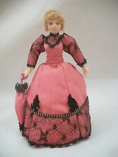 "Porcelain 6"" Doll - Victorian Lady GS1016 miniature 1/12 scale w/ stand"