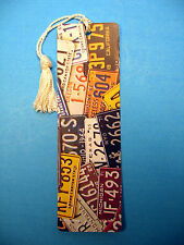 """Collage Of Old License Plates"" Image on Tassel Bookmark (white tassel) Sku# 303"