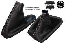 BLU CUCITURE CARBON VINILE CUFFIA LEVA E FRENO PER BMW E90 E91 E92 E93 M///