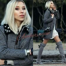 ZARA NEW WOOL GREY CHECKED COAT WITH JEWEL COLLAR SIZE L 12
