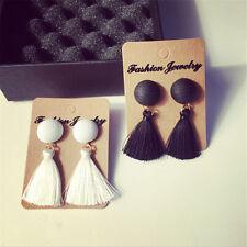 Vintage Thread Tassel Fringe Earrings Pearl Women Drop Dangle Earrings Jewelry