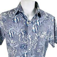 RJC Reverse Print Tropical Fish Medium Hawaiian Aloha Shirt