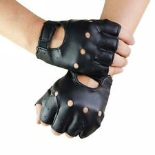 Men Half Finger Biker Driving Faux Leather Gloves Black Punk Fingerless Gloves