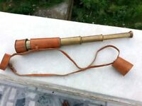 Brass Telescope with Leather case Folding Telescope Antique Finish Brown Leather