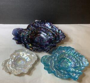 Akcam Iridescent Oyster Shell Art Glass Pearlescent Decorative Dish Set Of 3